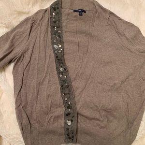 Sequined cardigan w/ hidden button closure